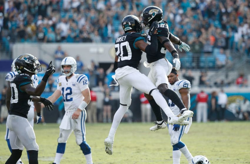 JACKSONVILLE, FL - DECEMBER 02: Jalen Ramsey #20 and Ronnie Harrison #36 of the Jacksonville Jaguars celebrate a play during their game against the Indianapolis Colts at TIAA Bank Field on December 2, 2018 in Jacksonville, Florida. (Photo by Joe Robbins/Getty Images)