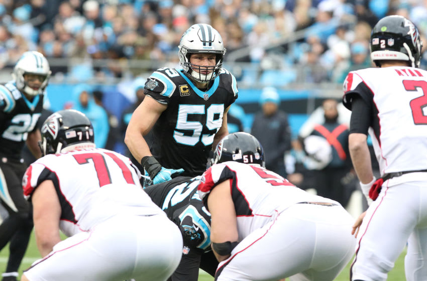 CHARLOTTE, NC - DECEMBER 23: Luke Kuechly (59) linebacker Carolina during an NFL football game between the Carolina Panthers and the Atlanta Falcons on December 23, 2018 at Bank of America Stadium in Charlotte, NC. (Photo by John Byrum/Icon Sportswire via Getty Images)