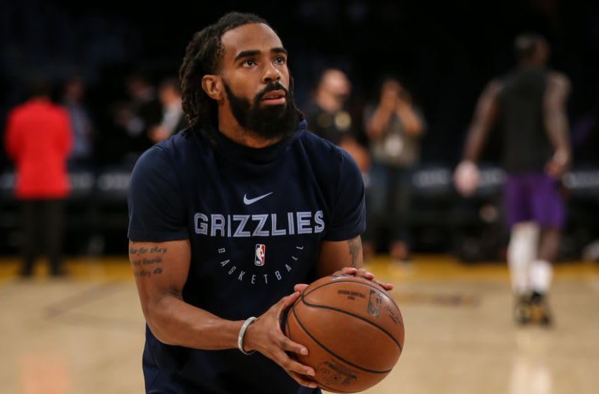 LOS ANGELES, CA - DECEMBER 23: Memphis Grizzlies Guard Mike Conley (11) before the Memphis Grizzlies vs Los Angeles Lakers game on December 23, 2018 at STAPLES Center in Los Angeles, CA. (Photo by Icon Sportswire)