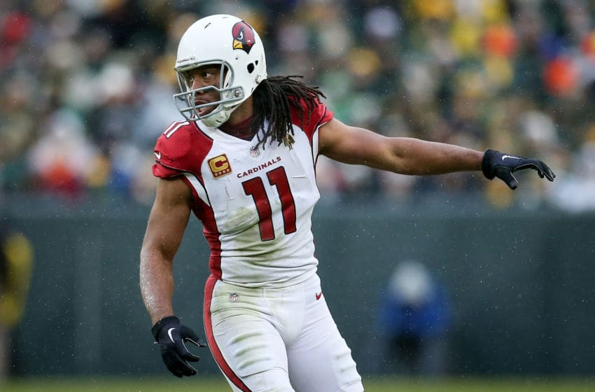 GREEN BAY, WISCONSIN - DECEMBER 02: Larry Fitzgerald #11 of the Arizona Cardinals lines up for a play in the third quarter against the Green Bay Packers at Lambeau Field on December 02, 2018 in Green Bay, Wisconsin. (Photo by Dylan Buell/Getty Images)