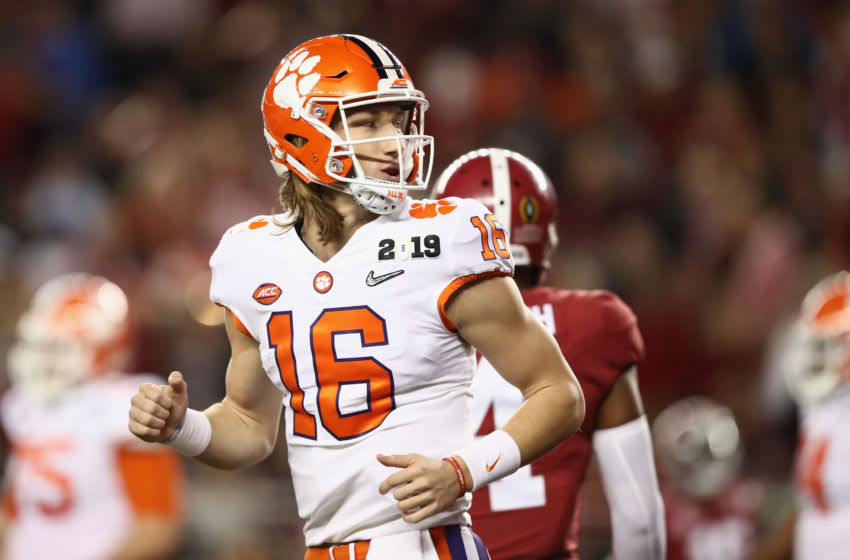 SANTA CLARA, CA - JANUARY 07: Trevor Lawrence #16 of the Clemson Tigers reacts against the Alabama Crimson Tide in the CFP National Championship presented by AT&T at Levi's Stadium on January 7, 2019 in Santa Clara, California. (Photo by Ezra Shaw/Getty Images)