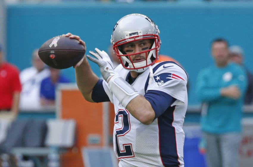MIAMI GARDENS, FL - DECEMBER 9: Brian Hoyer #2 of the New England Patriots throws the ball prior to an NFL game against the Miami Dolphins on December 9, 2018 at Hard Rock Stadium in Miami Gardens, Florida. The Dolphins defeated the Patriots 34-33. (Photo by Joel Auerbach/Getty Images)