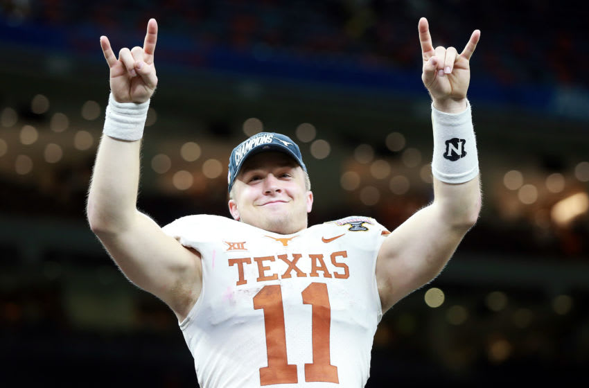 NEW ORLEANS, LOUISIANA - JANUARY 01: Sam Ehlinger #11 of the Texas Longhorns celebrates after defeating the Georgia Bulldogs 28-21 during the Allstate Sugar Bowl at Mercedes-Benz Superdome on January 01, 2019 in New Orleans, Louisiana. (Photo by Sean Gardner/Getty Images)