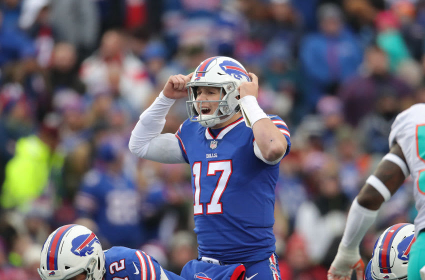BUFFALO, NY - DECEMBER 30: Josh Allen #17 of the Buffalo Bills calls an audible in the first quarter during NFL game action against the Miami Dolphins at New Era Field on December 30, 2018 in Buffalo, New York. (Photo by Tom Szczerbowski/Getty Images)