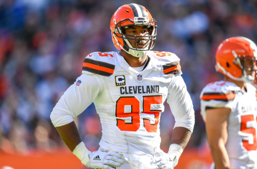 CLEVELAND, OH - OCTOBER 14: Myles Garrett #95 of the Cleveland Browns pauses on the field during the game against the Los Angeles Chargers at FirstEnergy Stadium on October 14, 2018 in Cleveland, Ohio. (Photo by Jason Miller/Getty Images)