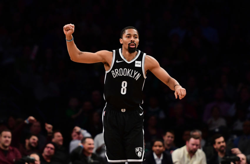 NEW YORK, NEW YORK - JANUARY 14: Spencer Dinwiddie #8 of the Brooklyn Nets reacts during the third quarter of the game against the Boston Celtics at Barclays Center on January 14, 2019 in the Brooklyn borough of New York City. NOTE TO USER: User expressly acknowledges and agrees that, by downloading and or using this photograph, User is consenting to the terms and conditions of the Getty Images License Agreement. (Photo by Sarah Stier/Getty Images)