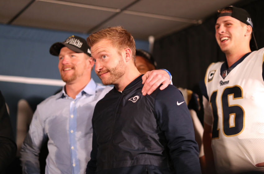 NEW ORLEANS, LOUISIANA - JANUARY 20: General Manager, Les Snead, head coach Sean McVay and Jared Goff #16 of the Los Angeles Rams reacts after defeating the New Orleans Saints in the NFC Championship game at the Mercedes-Benz Superdome on January 20, 2019 in New Orleans, Louisiana. The Los Angeles Rams defeated the New Orleans Saints with a score of 26 to 23. (Photo by Chris Graythen/Getty Images)