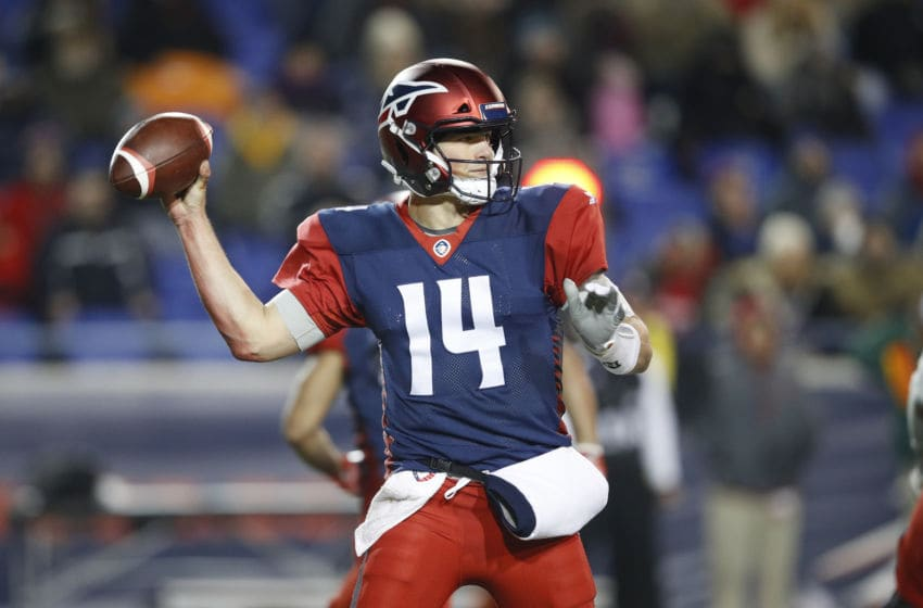 MEMPHIS, TN - FEBRUARY 16: Christian Hackenberg #14 of the Memphis Express throws a pass during an Alliance of American Football game against the Arizona Hotshots at Liberty Bowl Memorial Stadium on February 16, 2019 in Memphis, Tennessee. (Photo by Joe Robbins/AAF/Getty Images)