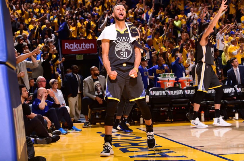 OAKLAND, CA - APRIL 30: Stephen Curry #30 of the Golden State Warriors reacts to a play during Game Two of the Western Conference Semifinals of the 2019 NBA Playoffs against the Houston Rockets on April 30, 2019 at ORACLE Arena in Oakland, California. NOTE TO USER: User expressly acknowledges and agrees that, by downloading and or using this photograph, user is consenting to the terms and conditions of Getty Images License Agreement. Mandatory Copyright Notice: Copyright 2019 NBAE (Photo by Noah Graham/NBAE via Getty Images)