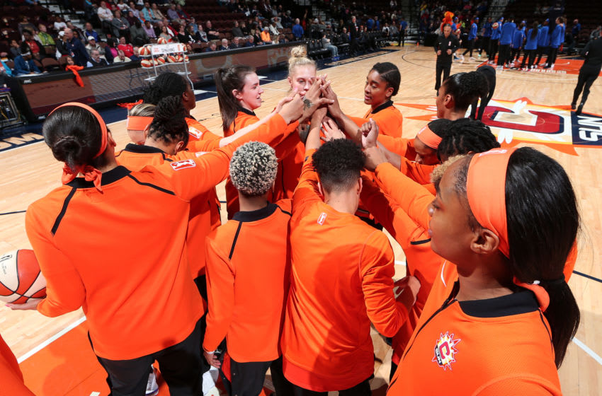 UNCASVILLE, CT - MAY 14: The Connecticut Sun huddles up before the game against the the Dallas Wings on May 14, 2019 at the Mohegan Sun Arena in Uncasville, Connecticut. NOTE TO USER: User expressly acknowledges and agrees that, by downloading and or using this photograph, User is consenting to the terms and conditions of the Getty Images License Agreement. Mandatory Copyright Notice: Copyright 2019 NBAE (Photo by Ned Dishman/NBAE via Getty Images)