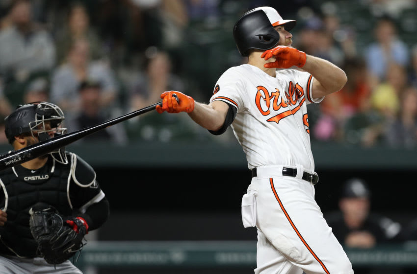 BALTIMORE, MARYLAND - APRIL 23: Chris Davis #19 of the Baltimore Orioles watches his two-run home run against the Chicago White Sox during the third inning at Oriole Park at Camden Yards on April 23, 2019 in Baltimore, Maryland. (Photo by Patrick Smith/Getty Images)