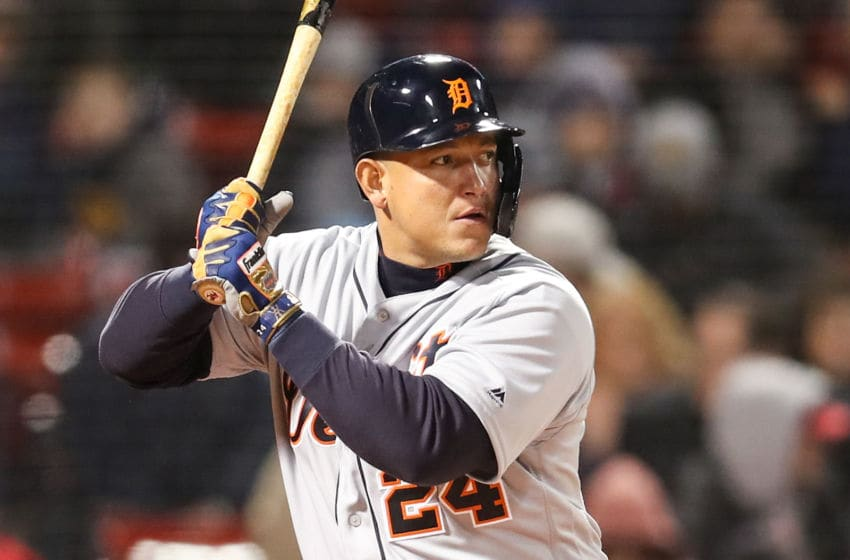 BOSTON, MA - APRIL 23: Miguel Cabrera #24 of the Detroit Tigers bats during the second game of a double header against the Boston Red Sox at Fenway Park on April 23, 2019 in Boston, Massachusetts. (Photo by Adam Glanzman/Getty Images)