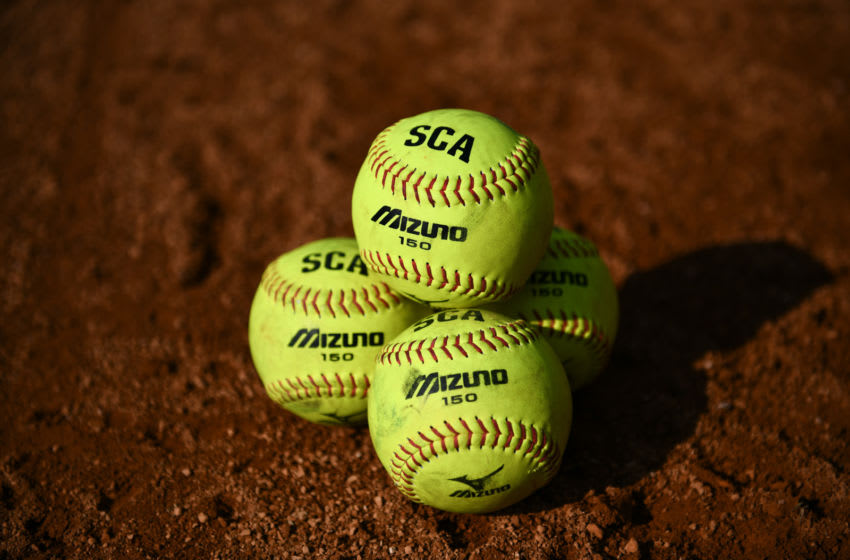 JAKARTA, INDONESIA - MAY 03: Official balls Mizuno 150 are seen during the match between Hong Kong and Indonesia on day three of the 12th Softball Women's Asia Cup on May 03, 2019 in Jakarta, Indonesia. (Photo by Robertus Pudyanto/Getty Images)