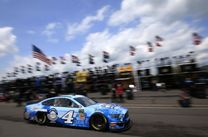 LONG POND, PENNSYLVANIA - MAY 31: Kevin Harvick drives the #4 Busch Light Father's Day Ford through the garage area during practice for the Monster Energy NASCAR Cup Series Pocono 400 at Pocono Raceway on May 31, 2019 in Long Pond, Pennsylvania. (Photo by Chris Trotman/Getty Images)