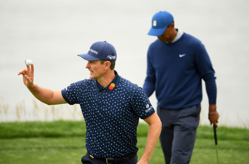 PEBBLE BEACH, CALIFORNIA - JUNE 14: Justin Rose of England waves on the eighth green during the second round of the 2019 U.S. Open at Pebble Beach Golf Links on June 14, 2019 in Pebble Beach, California. (Photo by Ross Kinnaird/Getty Images)
