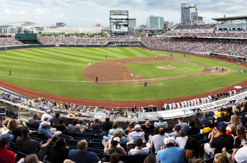 OMAHA, NE - JUNE 25: (EDITORS NOTES: This is a panoramic stitched from separate photos) The opening pitch of the Vanderbilt Commodores vs. the Michigan Wolverines in the 2019 NCAA Baseball Men's College World Series National Championship at TD Ameritrade Park on June 25, 2019 in Omaha, Nebraska. (Photo by James Blakeway/Blakeway World Panoramas/Getty Images)
