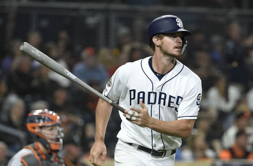 SAN DIEGO, CA - JULY 02: Wil Myers #4 of the San Diego Padres plays during a baseball game against the San Francisco Giants at Petco Park July 2, 2019 in San Diego, California. (Photo by Denis Poroy/Getty Images)