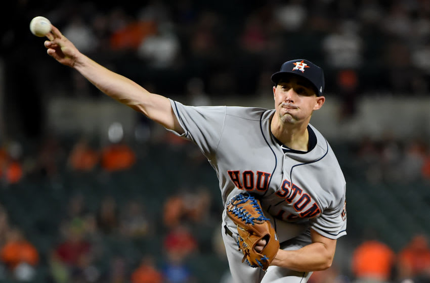 BALTIMORE, MD - AUGUST 10: Aaron Sanchez #18 of the Houston Astros pitches during the fifth inning against the Baltimore Orioles at Oriole Park at Camden Yards on August 10, 2019 in Baltimore, Maryland. (Photo by Will Newton/Getty Images)
