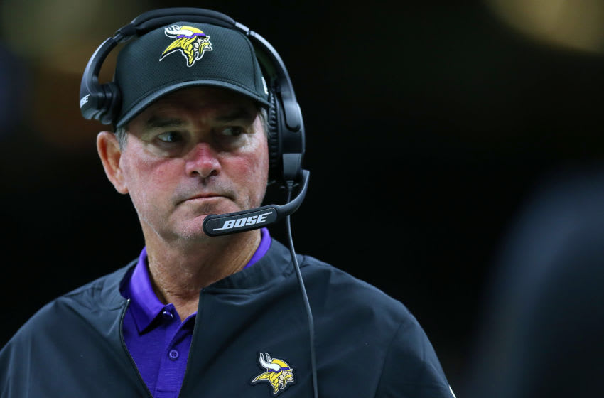 NEW ORLEANS, LOUISIANA - AUGUST 09: Head coach Mike Zimmer of the Minnesota Vikings during a preseason game at the Mercedes Benz Superdome on August 09, 2019 in New Orleans, Louisiana. (Photo by Jonathan Bachman/Getty Images)