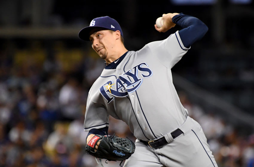 LOS ANGELES, CA - SEPTEMBER 17: Blake Snell #4 of the Tampa Bay Rays pitches in the first inning against the against the Los Angeles Dodgers at Dodger Stadium on September 17, 2019 in Los Angeles, California. (Photo by Jayne Kamin-Oncea/Getty Images)