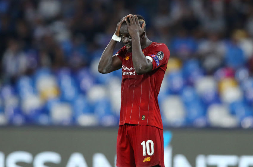 Dejection of Sadio Mane of Liverpool during the UEFA Champions League Group E match SSC Napoli v Liverpool Fc at the San Paolo Stadium in Naples, Italy on September 17, 2019 (Photo by Matteo Ciambelli/NurPhoto via Getty Images)