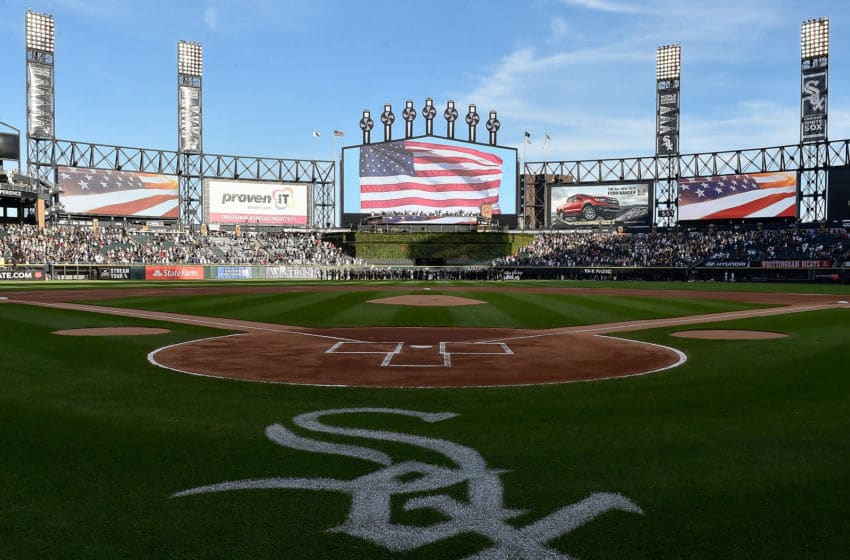 CHICAGO, ILLINOIS - AUGUST 24: A general view of Guaranteed Rate Field during the observation of the singing of the national anthem before the game between the Chicago White Sox and the Texas Rangers at Guaranteed Rate Field on August 24, 2019 in Chicago, Illinois. Teams are wearing special color schemed uniforms with players choosing nicknames to display for Players' Weekend. (Photo by Quinn Harris/Getty Images)