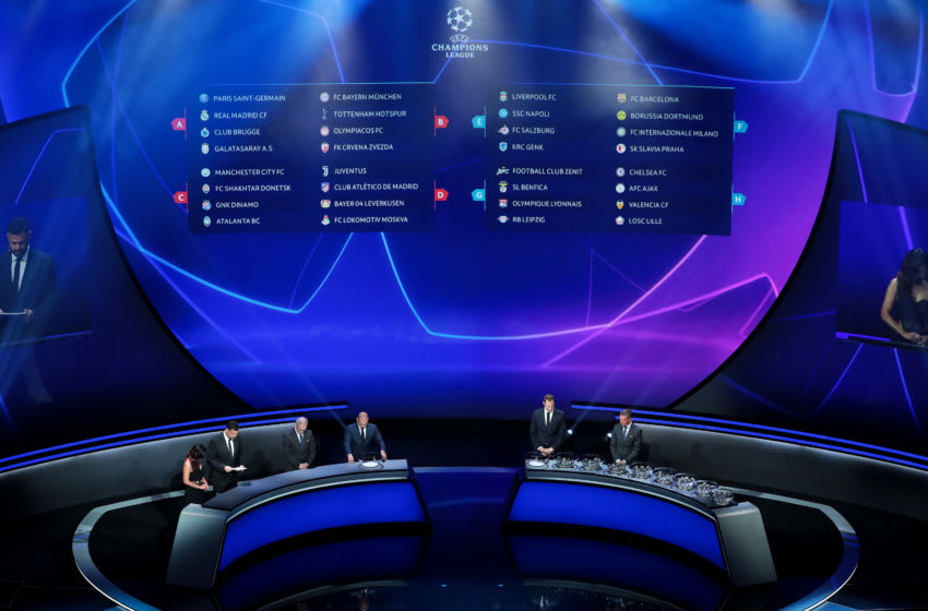 MONACO, MONACO - AUGUST 29: A general view of the final draw during the UEFA Champions League Draw, part of the UEFA European Club Football Season Kick-Off 2019/2020 at Salle des Princes, Grimaldi Forum on August 29, 2019 in Monaco, Monaco. (Photo by Emilio Andreoli - UEFA/UEFA via Getty Images)