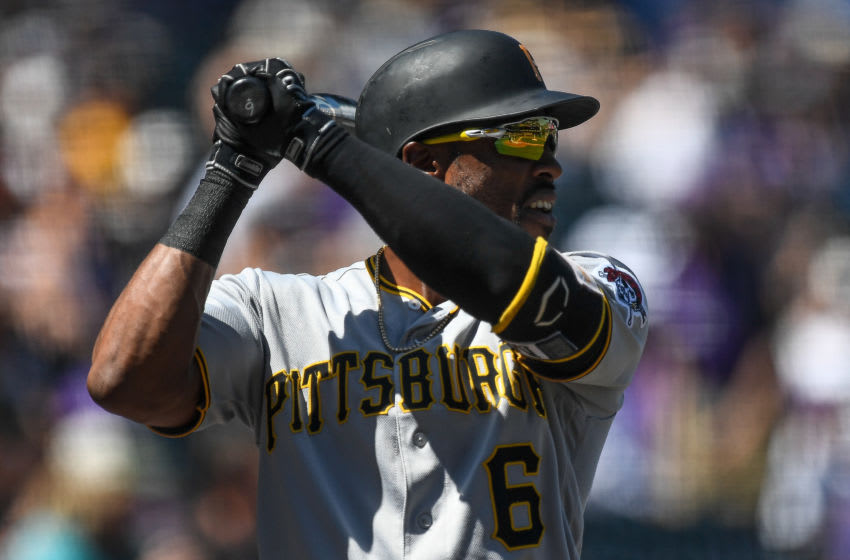 DENVER, CO - SEPTEMBER 1: Starling Marte #6 of the Pittsburgh Pirates warms up in the on deck circle before batting against the Colorado Rockies in the first inning of a game at Coors Field on September 1, 2019 in Denver, Colorado. (Photo by Dustin Bradford/Getty Images)