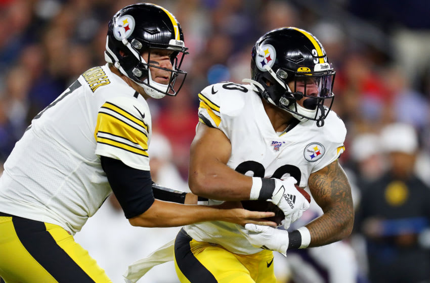 James Conner, Ben Roethlisberger, Pittsburgh Steelers. (Photo by Maddie Meyer/Getty Images)