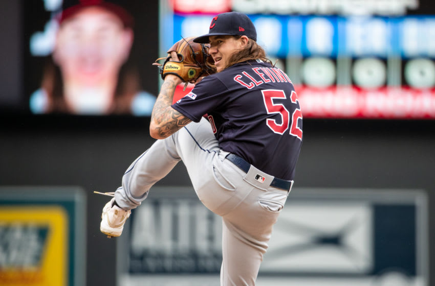 MINNEAPOLIS, MN - SEPTEMBER 08: Mike Clevinger #52 of the Cleveland Indians pitches against the Minnesota Twins on September 8, 2019 at the Target Field in Minneapolis, Minnesota. The Indians defeated the Twins 5-2. (Photo by Brace Hemmelgarn/Minnesota Twins/Getty Images)