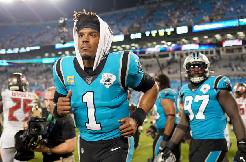 CHARLOTTE, NORTH CAROLINA - SEPTEMBER 12: Cam Newton #1 of the Carolina Panthers after their game against the Tampa Bay Buccaneers at Bank of America Stadium on September 12, 2019 in Charlotte, North Carolina. (Photo by Jacob Kupferman/Getty Images)