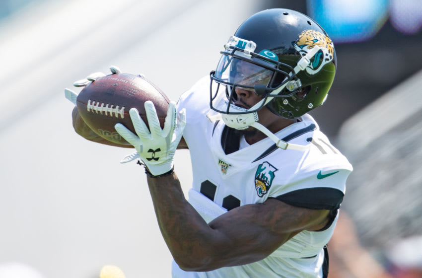 JACKSONVILLE, FLORIDA - SEPTEMBER 08: Marqise Lee #11 of the Jacksonville Jaguars warms up before a game against the Kansas City Chiefs at TIAA Bank Field on September 08, 2019 in Jacksonville, Florida. (Photo by James Gilbert/Getty Images)