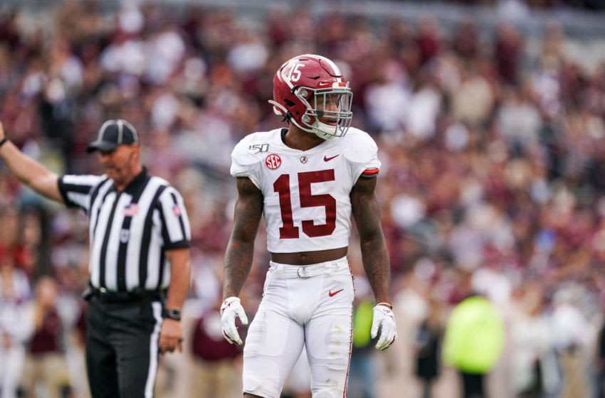 COLLEGE STATION, TX - OCTOBER 12: Alabama Crimson Tide defensive back Xavier McKinney (15) looks over during the college football game between the Alabama Crimson Tide and Texas A&M Aggies on October 12, 2019 at Kyle Field in College Station, Texas. (Photo by Daniel Dunn/Icon Sportswire via Getty Images)