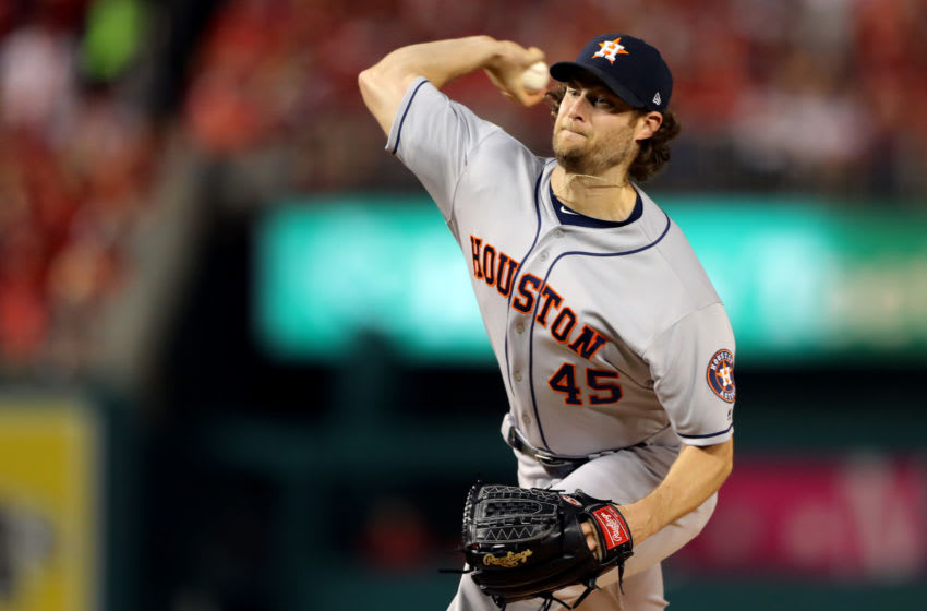 WASHINGTON, DC - OCTOBER 27: Gerrit Cole #45 of the Houston Astros pitches in the first inning during Game 5 of the 2019 World Series between the Houston Astros and the Washington Nationals at Nationals Park on Sunday, October 27, 2019 in Washington, District of Columbia. (Photo by Alex Trautwig/MLB Photos via Getty Images)