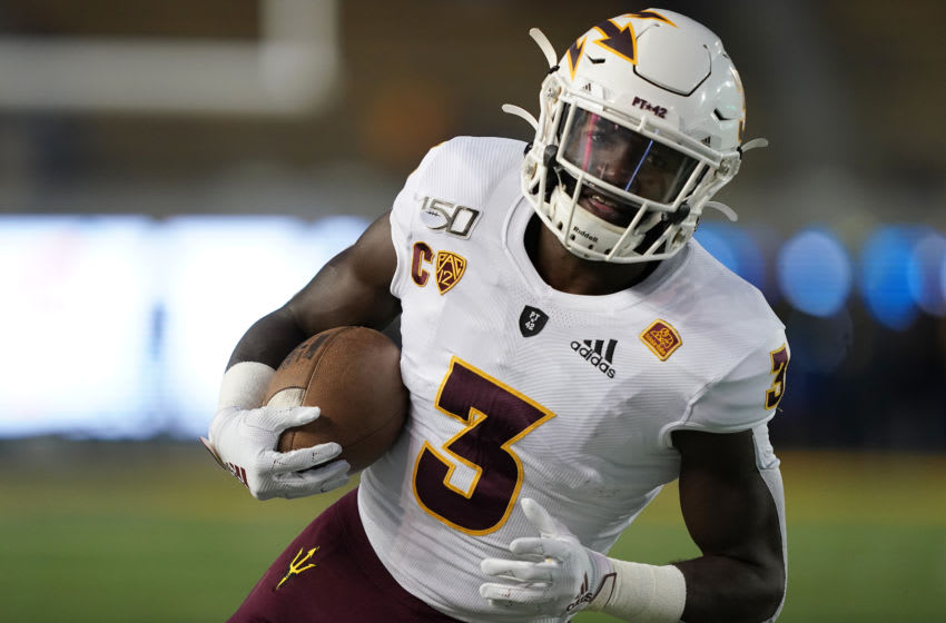 BERKELEY, CALIFORNIA - SEPTEMBER 27: Eno Benjamin #3 of the Arizona State Sun Devils warms up prior to the start of an NCAA football game against the California Golden Bears at California Memorial Stadium on September 27, 2019 in Berkeley, California. (Photo by Thearon W. Henderson/Getty Images)