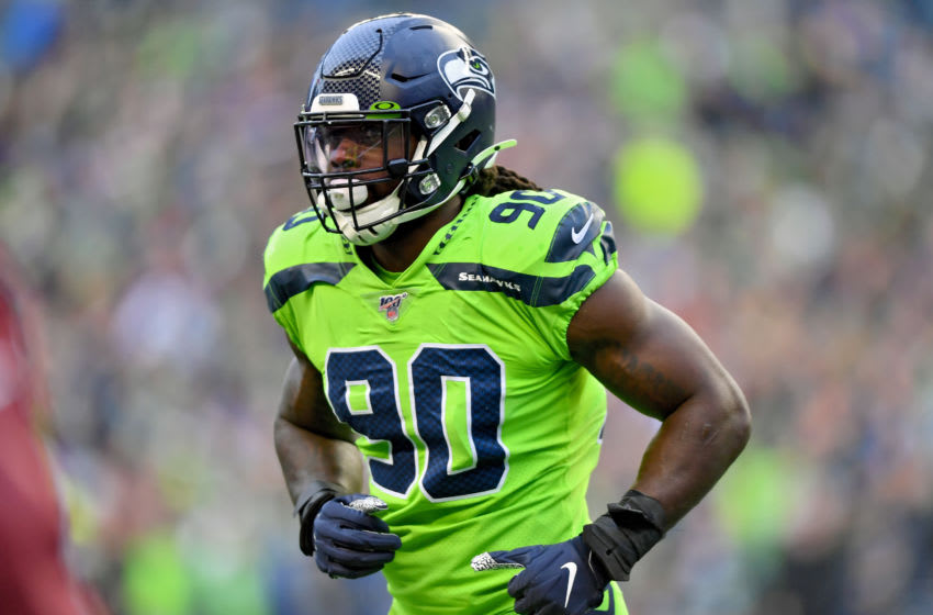 SEATTLE, WASHINGTON - OCTOBER 03: Jadeveon Clowney #90 of the Seattle Seahawks runs off the field during the game against the Los Angeles Rams at CenturyLink Field on October 03, 2019 in Seattle, Washington. The Seattle Seahawks top the Los Angeles Rams 30-29. (Photo by Alika Jenner/Getty Images)
