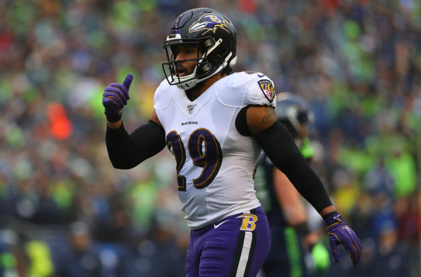 SEATTLE, WASHINGTON - OCTOBER 20: Earl Thomas #29 of the Baltimore Ravens (Photo by Abbie Parr/Getty Images)