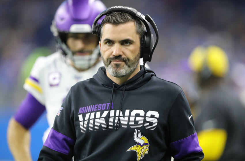 DETROIT, MI - OCTOBER 20: Minnesota Vikings offensive coordinator Kevin Stefanski looks on during a game against the Detroit Lions at Ford Field on October 20, 2019 in Detroit, Michigan. (Photo by Rey Del Rio/Getty Images)