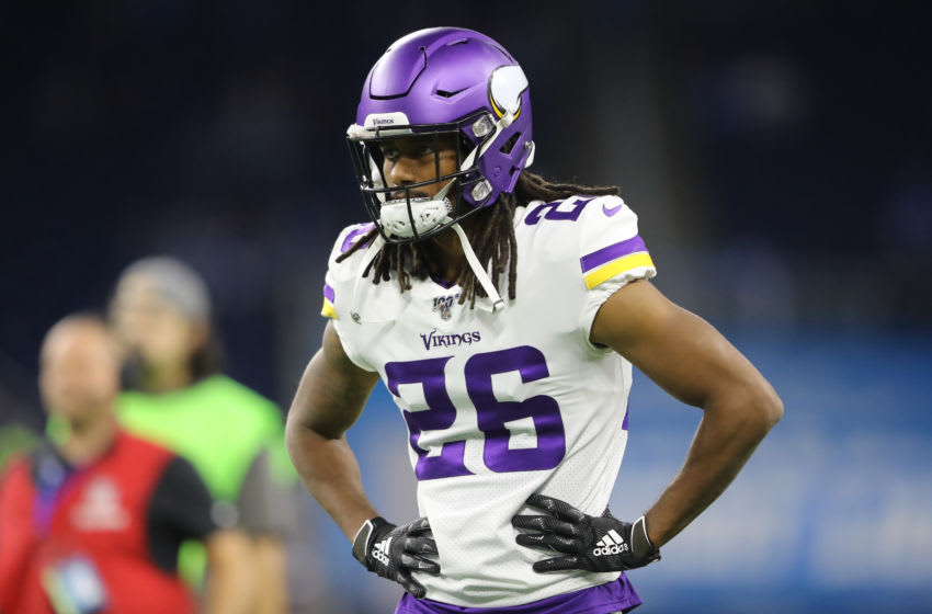 DETROIT, MI - OCTOBER 20: Trae Waynes #26 of the Minnesota Vikings warms up prior to the start of the game aganist the Detroit Lions at Ford Field on October 20, 2019 in Detroit, Michigan. (Photo by Rey Del Rio/Getty Images)