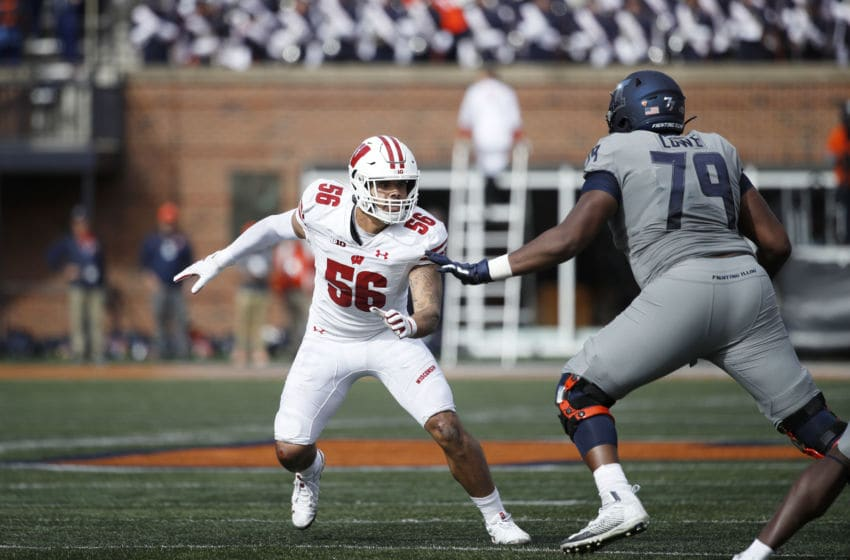CHAMPAIGN, IL - OCTOBER 19: Zack Baun #56 of the Wisconsin Badgers in action on defense during a game against the Illinois Fighting Illini at Memorial Stadium on October 19, 2019 in Champaign, Illinois. Illinois defeated Wisconsin 24-23. (Photo by Joe Robbins/Getty Images)
