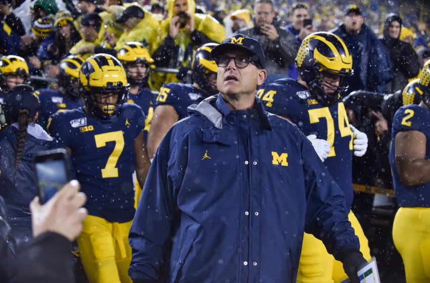 Jim Harbaugh, Michigan Wolverines. (Photo by Aaron J. Thornton/Getty Images)