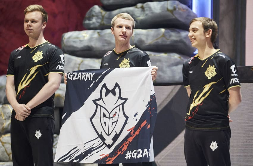MADRID, SPAIN - OCTOBER 27: G2 Esports Top Laner Martin 'Wunder' Hansen, Jungler Marcin 'Jankos' Jankowski and Mid Laner Rasmus 'Caps' Winther during his presentation in Quarter Finals World Championship match between G2 Esports and Damwon Gaming on October 27, 2019 in Madrid, Spain. (Photo by Borja B. Hojas/Getty Images)