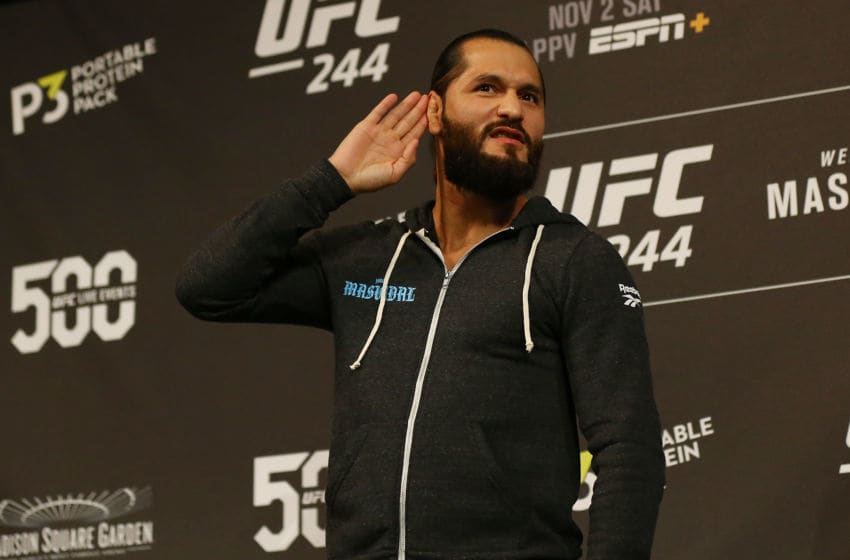 NEW YORK, NEW YORK - OCTOBER 30: UFC fighter Jorge Masvidal reacts to the crowd during open workouts for UFC 244 at The Hulu Theater at Madison Square Garden on October 30, 2019 in New York City. (Photo by Mike Stobe/Zuffa LLC)