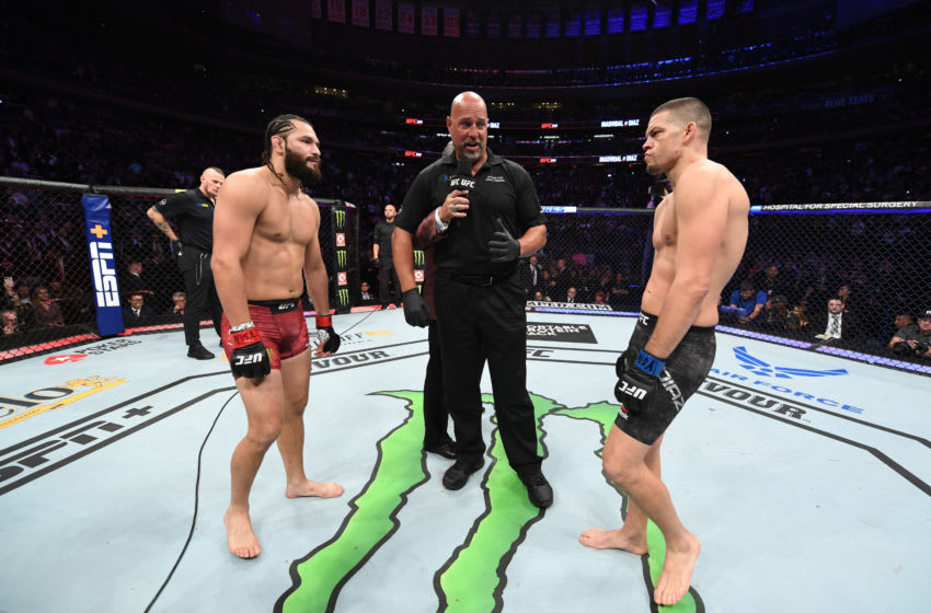 NEW YORK, NEW YORK - NOVEMBER 02: (L-R) Jorge Masvidal and Nate Diaz face off before their welterweight bout for the BMF title during the UFC 244 event at Madison Square Garden on November 02, 2019 in New York City. (Photo by Josh Hedges/Zuffa LLC via Getty Images)