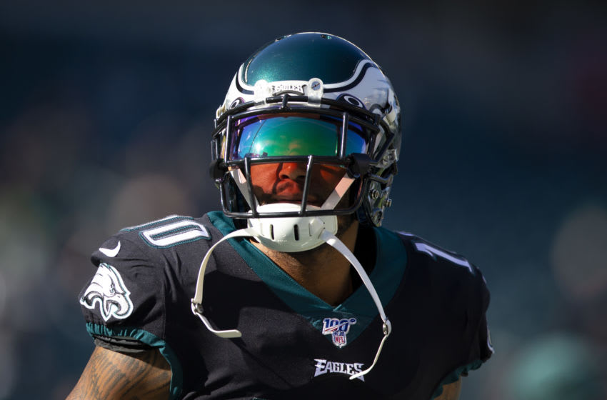 PHILADELPHIA, PA - NOVEMBER 03: DeSean Jackson #10 of the Philadelphia Eagles looks on prior to the game against the Chicago Bears at Lincoln Financial Field on November 3, 2019 in Philadelphia, Pennsylvania. (Photo by Mitchell Leff/Getty Images)