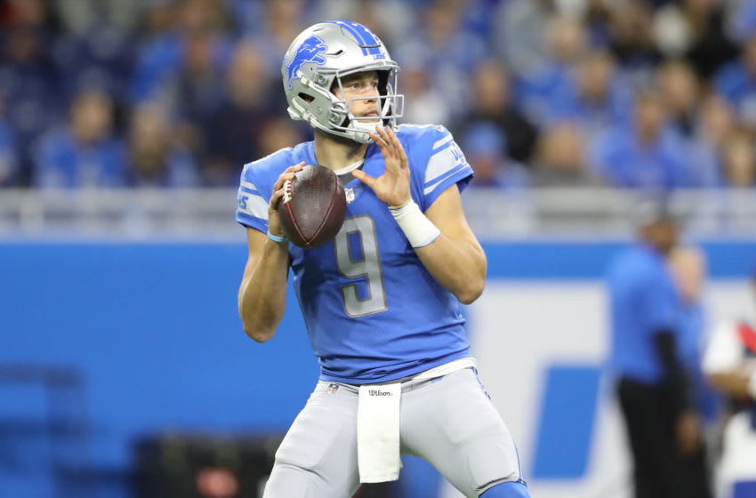 DETROIT, MI - OCTOBER 27: Matthew Stafford #9 of the Detroit Lions drops back to pass during the first quarter of the game against the New York Giants at Ford Field on October 27, 2019 in Detroit, Michigan. (Photo by Rey Del Rio/Getty Images)