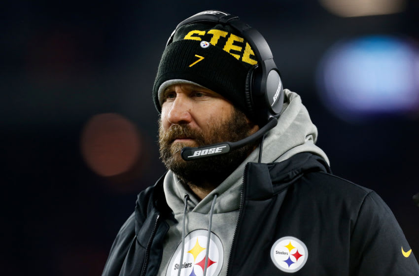 CLEVELAND, OH - NOVEMBER 14: Ben Roethlisberger #7 of the Pittsburgh Steelers stands on the sideline during the game against the Cleveland Browns at FirstEnergy Stadium on November 14, 2019 in Cleveland, Ohio. (Photo by Kirk Irwin/Getty Images)
