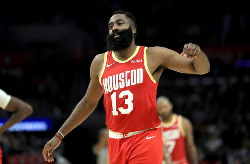 James Harden #13 of the Houston Rockets reacts to being called for a foul (Photo by Sean M. Haffey/Getty Images)