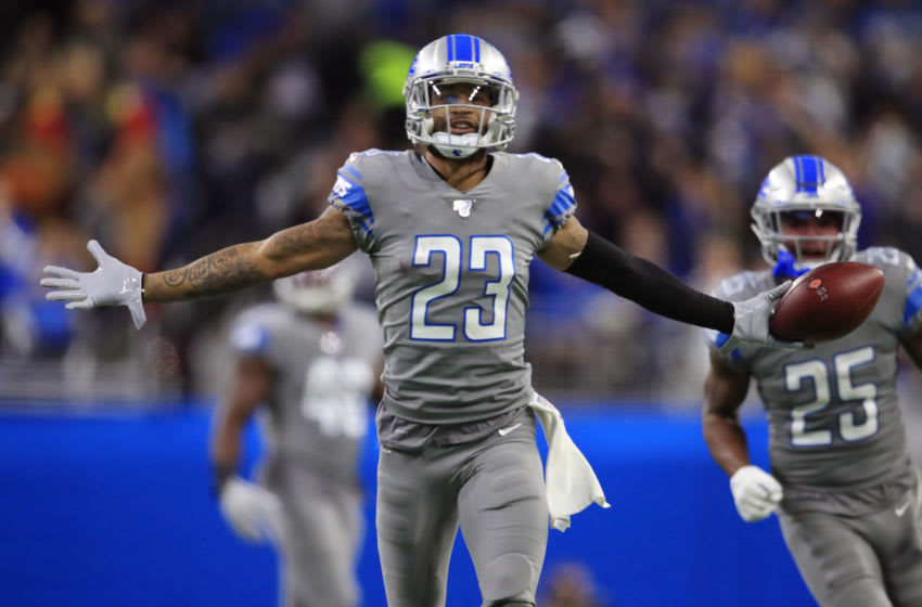 DETROIT, MICHIGAN - NOVEMBER 28: Darius Slay #23 of the Detroit Lions celebrates his second half interception against the Chicago Bears at Ford Field on November 28, 2019 in Detroit, Michigan. Chicago won the game 24-20. (Photo by Gregory Shamus/Getty Images)