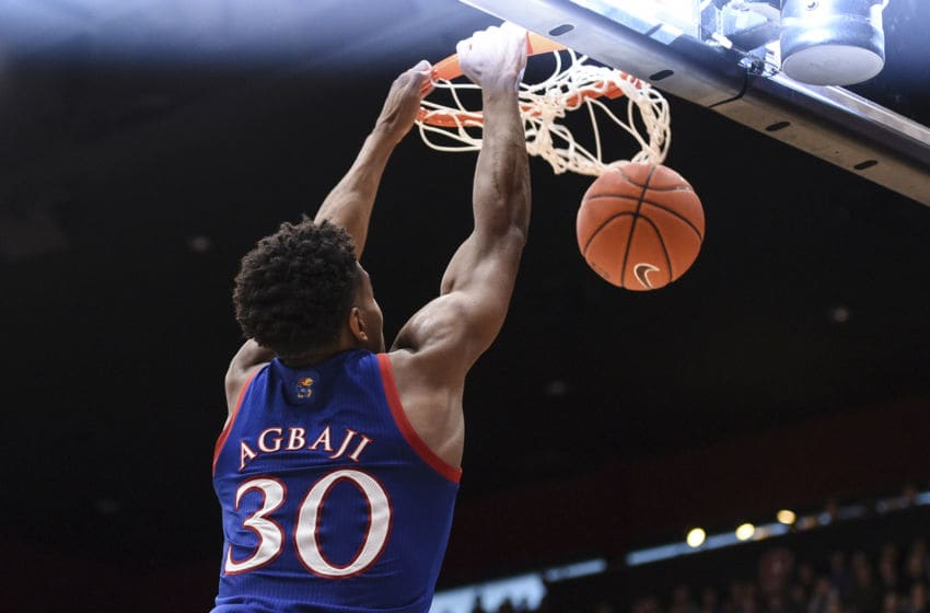 PALO ALTO, CA - DECEMBER 29: Kansas Jayhawks guard Ochai Agbaji (30) dunks the basketball during the NCAA men's basketball game between the Kansas Jayhawks and the Stanford Cardinal at Maples Pavilion on December 29, 2019 in Palo Alto, CA. (Photo by Cody Glenn/Icon Sportswire via Getty Images)